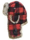 MAD BOMBER BLACK & RED PLAID/BROWN RABBIT FUR