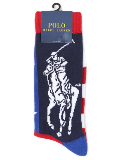 画像1: POLO RALPH LAUREN PATRIOTIC PONY PLAYER CREW SOCK