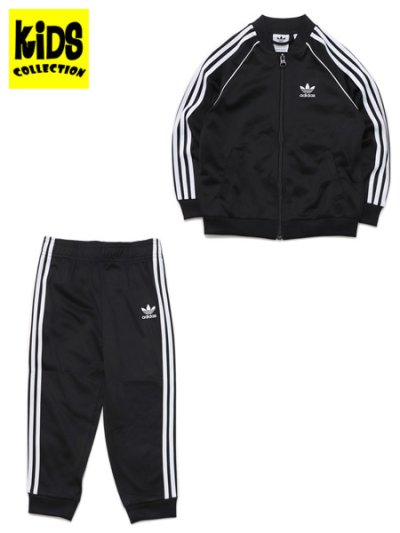 画像1: 【KIDS】ADIDAS KIDS 3 STRIPES TRACK SUIT-BLACK/WHITE